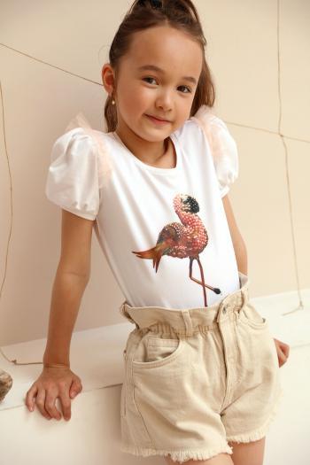 Kremowa bluzeczka z flamingiem