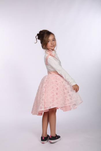 Kremowo – różowa sukienka z...