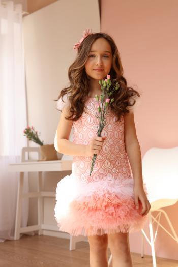 Łososiowa sukienka z...