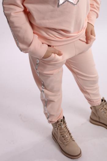 Spodnie dresowe pudrowy róż