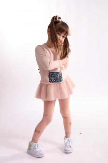 Różowe legginsy ze złotą...